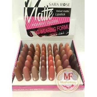 """Блеск для губ """"Sara Rose Velvet matte Lipstick"""" (цвета mix 48 шт)"""